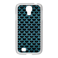 Scales3 Black Marble & Teal Brushed Metal (r) Samsung Galaxy S4 I9500/ I9505 Case (white)