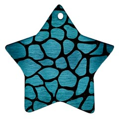 Skin1 Black Marble & Teal Brushed Metal (r) Star Ornament (two Sides) by trendistuff