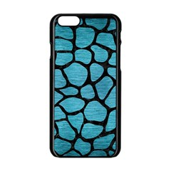 Skin1 Black Marble & Teal Brushed Metal (r) Apple Iphone 6/6s Black Enamel Case by trendistuff
