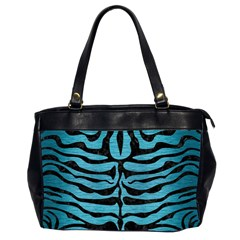 Skin2 Black Marble & Teal Brushed Metal Office Handbags (2 Sides)  by trendistuff