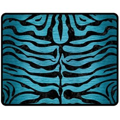 Skin2 Black Marble & Teal Brushed Metal Fleece Blanket (medium)  by trendistuff