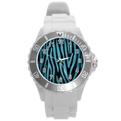 Skin4 Black Marble & Teal Brushed Metal Round Plastic Sport Watch (l) by trendistuff