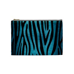 Skin4 Black Marble & Teal Brushed Metal (r) Cosmetic Bag (medium)  by trendistuff