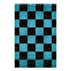 Square1 Black Marble & Teal Brushed Metal Shower Curtain 48  X 72  (small)  by trendistuff