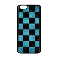 Square1 Black Marble & Teal Brushed Metal Apple Iphone 6/6s Black Enamel Case by trendistuff