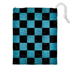 Square1 Black Marble & Teal Brushed Metal Drawstring Pouches (xxl) by trendistuff
