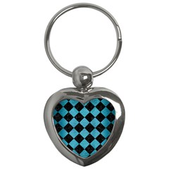 Square2 Black Marble & Teal Brushed Metal Key Chains (heart)  by trendistuff