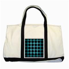Square2 Black Marble & Teal Brushed Metal Two Tone Tote Bag by trendistuff