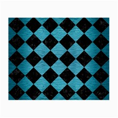 Square2 Black Marble & Teal Brushed Metal Small Glasses Cloth (2 Side) by trendistuff