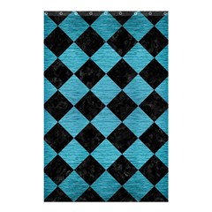 Square2 Black Marble & Teal Brushed Metal Shower Curtain 48  X 72  (small)  by trendistuff