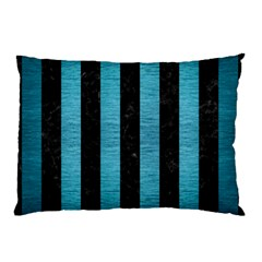 Stripes1 Black Marble & Teal Brushed Metal Pillow Case (two Sides) by trendistuff