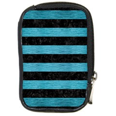 Stripes2 Black Marble & Teal Brushed Metal Compact Camera Cases by trendistuff