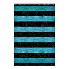 Stripes2 Black Marble & Teal Brushed Metal Shower Curtain 48  X 72  (small)  by trendistuff