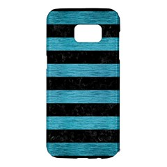 Stripes2 Black Marble & Teal Brushed Metal Samsung Galaxy S7 Edge Hardshell Case by trendistuff