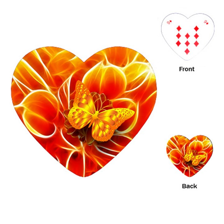 Arrangement Butterfly Aesthetics Orange Background Playing Cards (Heart)