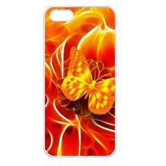 Arrangement Butterfly Aesthetics Orange Background Apple Iphone 5 Seamless Case (white) by Celenk