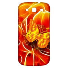 Arrangement Butterfly Aesthetics Orange Background Samsung Galaxy S3 S Iii Classic Hardshell Back Case