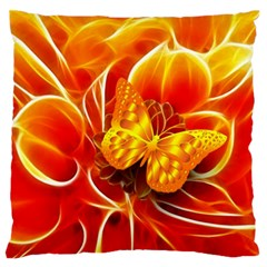 Arrangement Butterfly Aesthetics Orange Background Large Flano Cushion Case (one Side) by Celenk