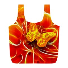 Arrangement Butterfly Aesthetics Orange Background Full Print Recycle Bags (l)  by Celenk