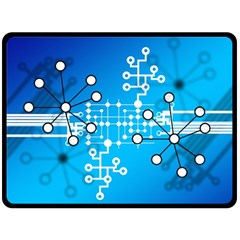 Block Chain Data Records Concept Fleece Blanket (large)  by Celenk