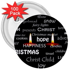 Candles Christmas Advent Light 3  Buttons (100 Pack)  by Celenk