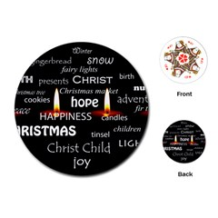 Candles Christmas Advent Light Playing Cards (round)  by Celenk