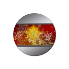 Christmas Candles Christmas Card Rubber Coaster (round)  by Celenk