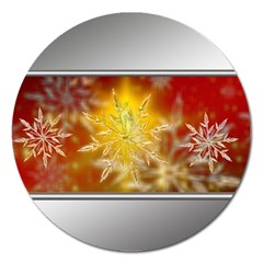 Christmas Candles Christmas Card Magnet 5  (round) by Celenk