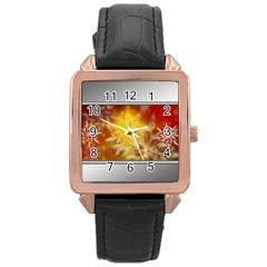 Christmas Candles Christmas Card Rose Gold Leather Watch  by Celenk