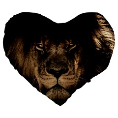African Lion Mane Close Eyes Large 19  Premium Flano Heart Shape Cushions by Celenk