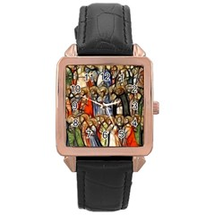 All Saints Christian Holy Faith Rose Gold Leather Watch  by Celenk