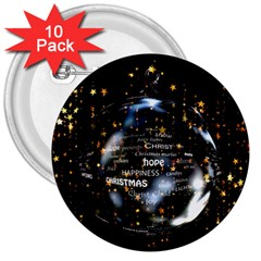 Christmas Star Ball 3  Buttons (10 Pack)  by Celenk