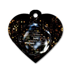 Christmas Star Ball Dog Tag Heart (one Side) by Celenk