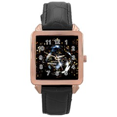 Christmas Star Ball Rose Gold Leather Watch  by Celenk