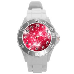 Christmas Star Advent Background Round Plastic Sport Watch (l) by Celenk