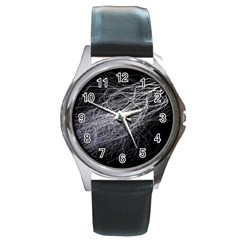 Flash Black Thunderstorm Round Metal Watch by Celenk