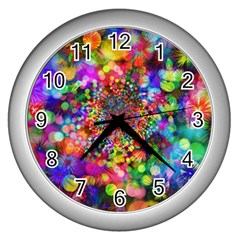 Background Color Pattern Structure Wall Clocks (silver)  by Celenk