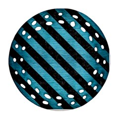 Stripes3 Black Marble & Teal Brushed Metal Ornament (round Filigree) by trendistuff