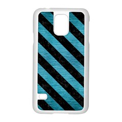 Stripes3 Black Marble & Teal Brushed Metal Samsung Galaxy S5 Case (white) by trendistuff