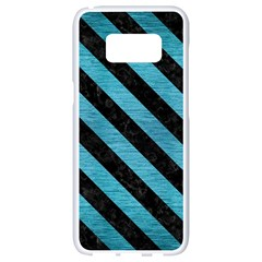 Stripes3 Black Marble & Teal Brushed Metal Samsung Galaxy S8 White Seamless Case by trendistuff