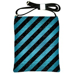 Stripes3 Black Marble & Teal Brushed Metal (r) Shoulder Sling Bags by trendistuff