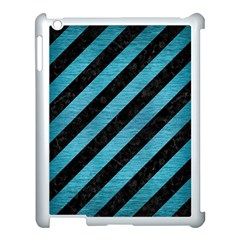 Stripes3 Black Marble & Teal Brushed Metal (r) Apple Ipad 3/4 Case (white) by trendistuff