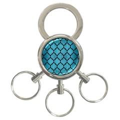Tile1 Black Marble & Teal Brushed Metal 3 Ring Key Chains by trendistuff