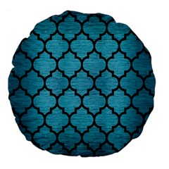 Tile1 Black Marble & Teal Brushed Metal Large 18  Premium Flano Round Cushions by trendistuff