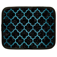 Tile1 Black Marble & Teal Brushed Metal (r) Netbook Case (xl)  by trendistuff
