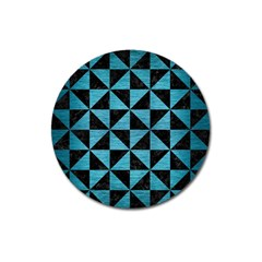 Triangle1 Black Marble & Teal Brushed Metal Magnet 3  (round) by trendistuff