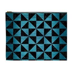 Triangle1 Black Marble & Teal Brushed Metal Cosmetic Bag (xl) by trendistuff