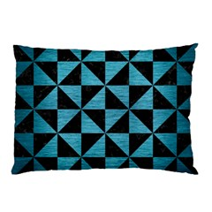 Triangle1 Black Marble & Teal Brushed Metal Pillow Case (two Sides) by trendistuff