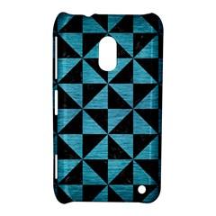 Triangle1 Black Marble & Teal Brushed Metal Nokia Lumia 620 by trendistuff