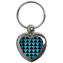Triangle2 Black Marble & Teal Brushed Metal Key Chains (heart)  by trendistuff